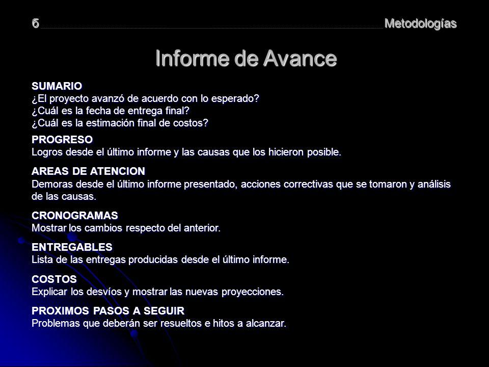 Informe de Avance б Metodologías SUMARIO PROGRESO AREAS DE ATENCION