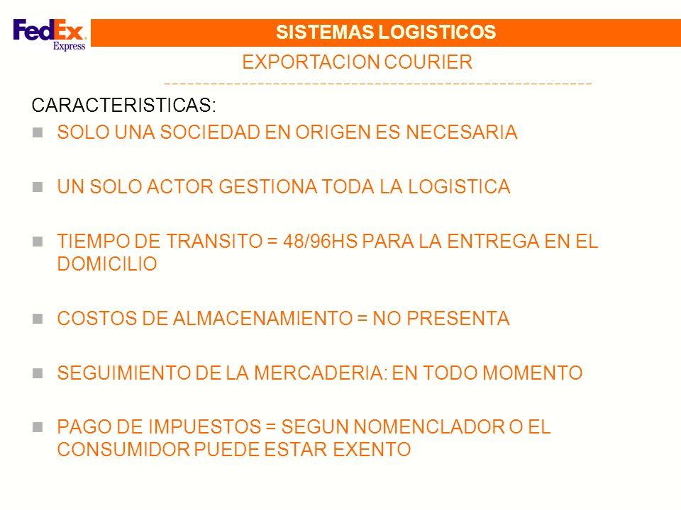 SISTEMAS LOGISTICOS EXPORTACION COURIER. CARACTERISTICAS: SOLO UNA SOCIEDAD EN ORIGEN ES NECESARIA.