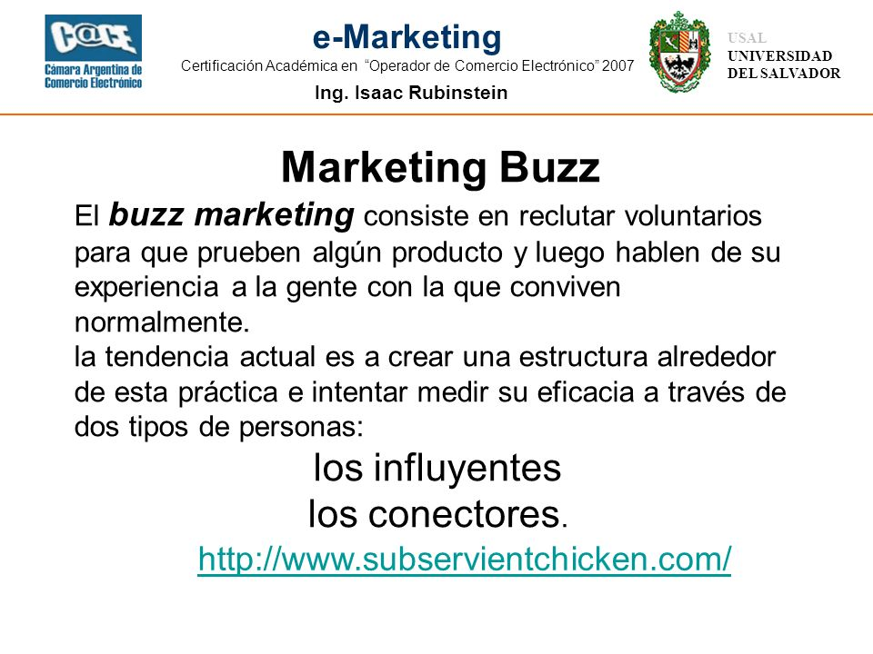 Marketing Buzz los influyentes los conectores.