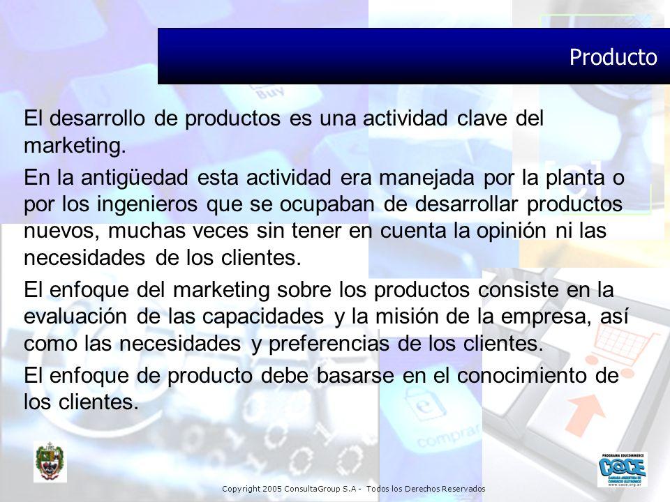 Producto El desarrollo de productos es una actividad clave del marketing.