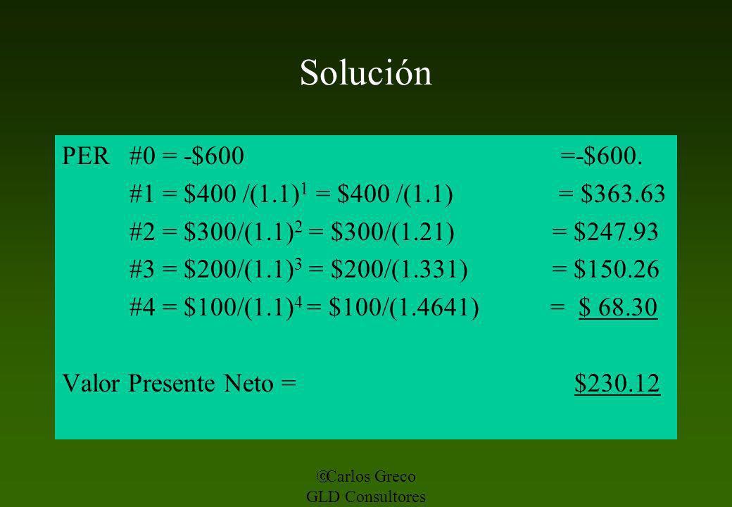 Solución PER #0 = -$600 =-$600. #1 = $400 /(1.1)1 = $400 /(1.1) = $363.63.