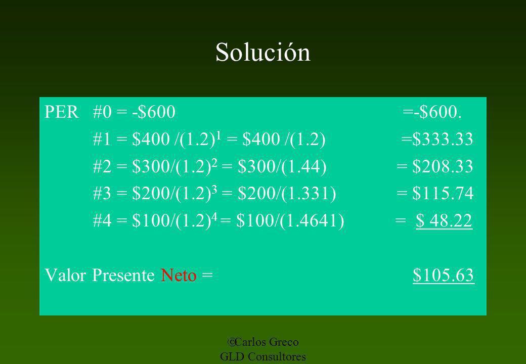Solución PER #0 = -$600 =-$600. #1 = $400 /(1.2)1 = $400 /(1.2) =$333.33.