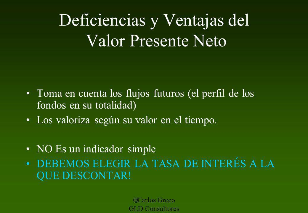 Deficiencias y Ventajas del Valor Presente Neto