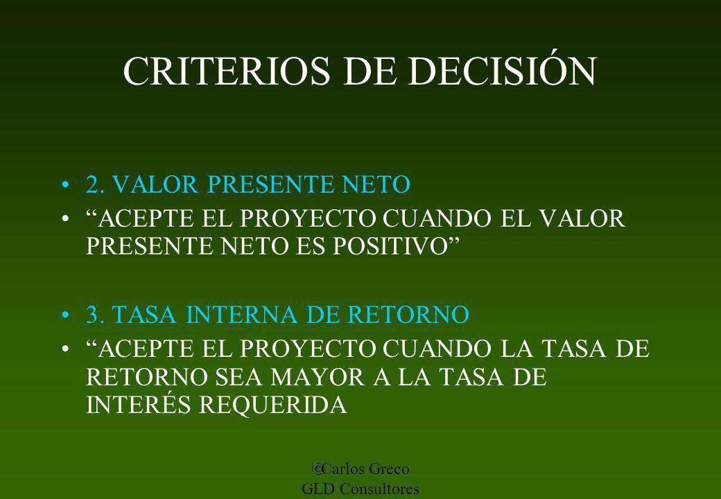 CRITERIOS DE DECISIÓN 2. VALOR PRESENTE NETO
