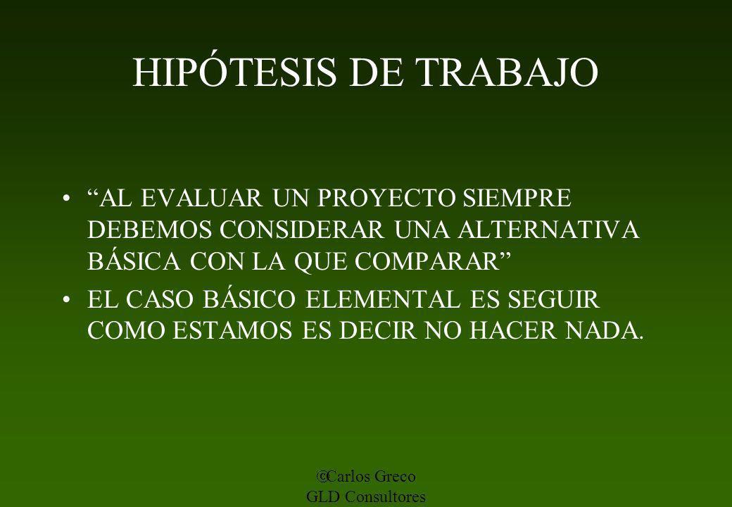 HIPÓTESIS DE TRABAJO AL EVALUAR UN PROYECTO SIEMPRE DEBEMOS CONSIDERAR UNA ALTERNATIVA BÁSICA CON LA QUE COMPARAR