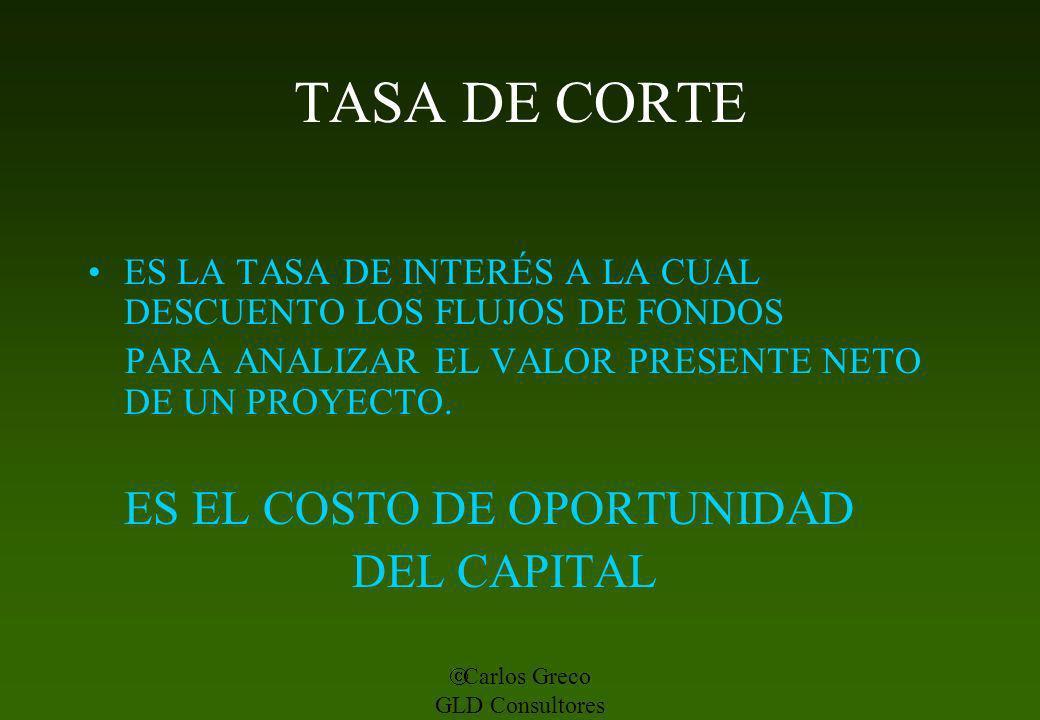 TASA DE CORTE ES EL COSTO DE OPORTUNIDAD DEL CAPITAL