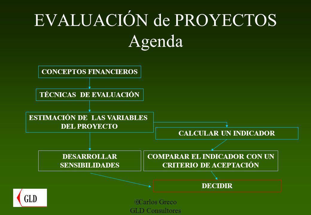 EVALUACIÓN de PROYECTOS Agenda