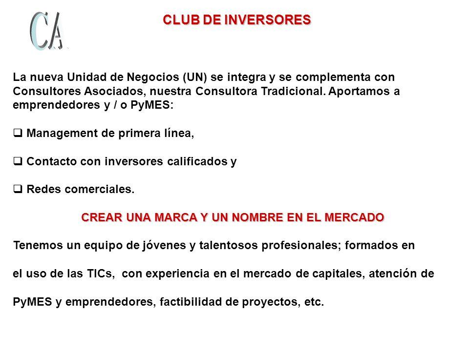 CLUB DE INVERSORES La nueva Unidad de Negocios (UN) se integra y se complementa con.