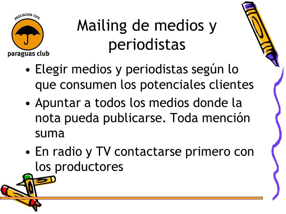 Mailing de medios y periodistas