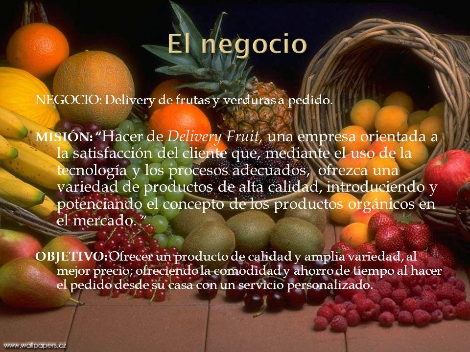 El negocio NEGOCIO: Delivery de frutas y verduras a pedido.