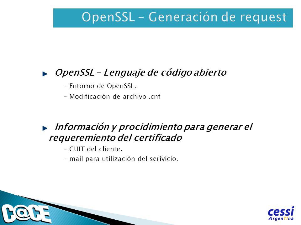OpenSSL – Generación de request