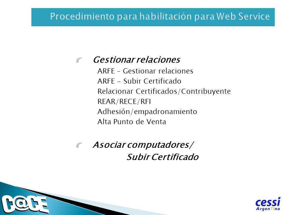 Procedimiento para habilitación para Web Service