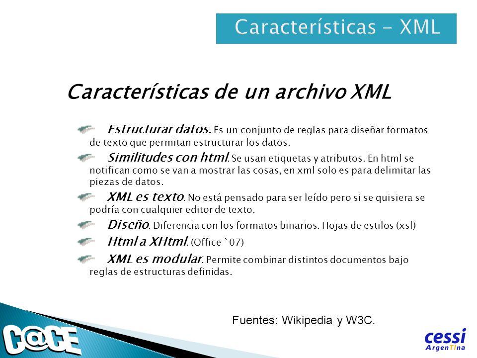 Características - XML Características de un archivo XML