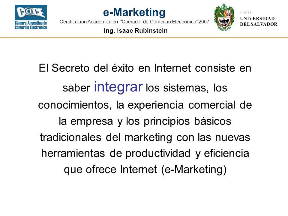 El Secreto del éxito en Internet consiste en saber integrar los sistemas, los conocimientos, la experiencia comercial de la empresa y los principios básicos tradicionales del marketing con las nuevas herramientas de productividad y eficiencia que ofrece Internet (e-Marketing)