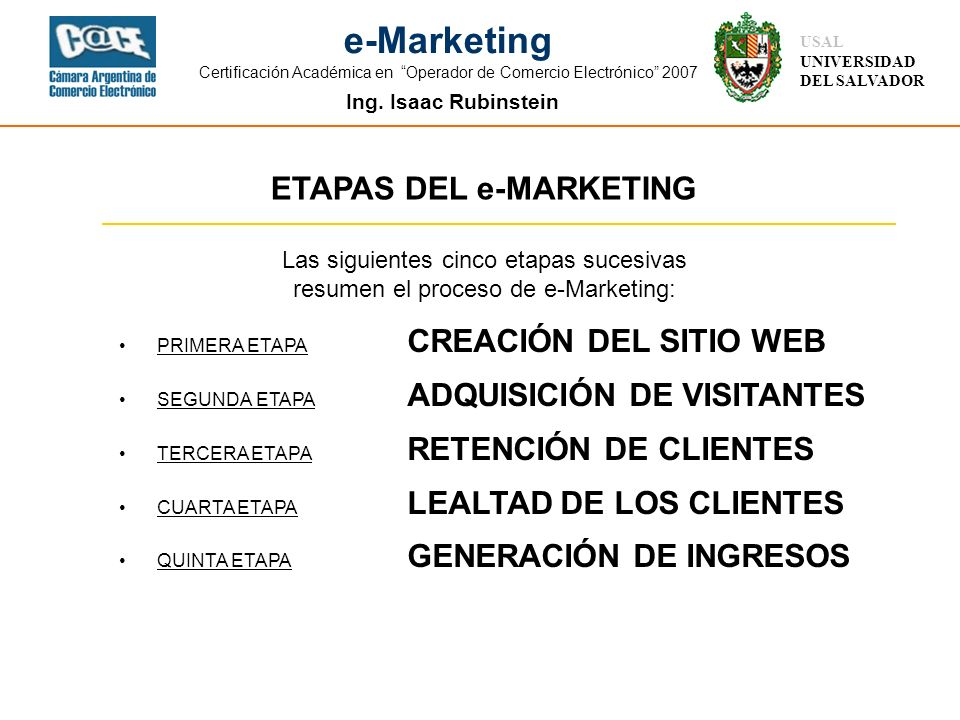 ETAPAS DEL e-MARKETING