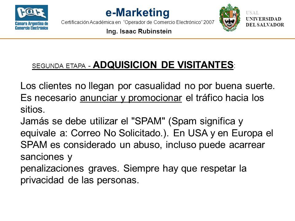 SEGUNDA ETAPA - ADQUISICION DE VISITANTES: