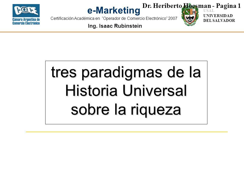 tres paradigmas de la Historia Universal sobre la riqueza