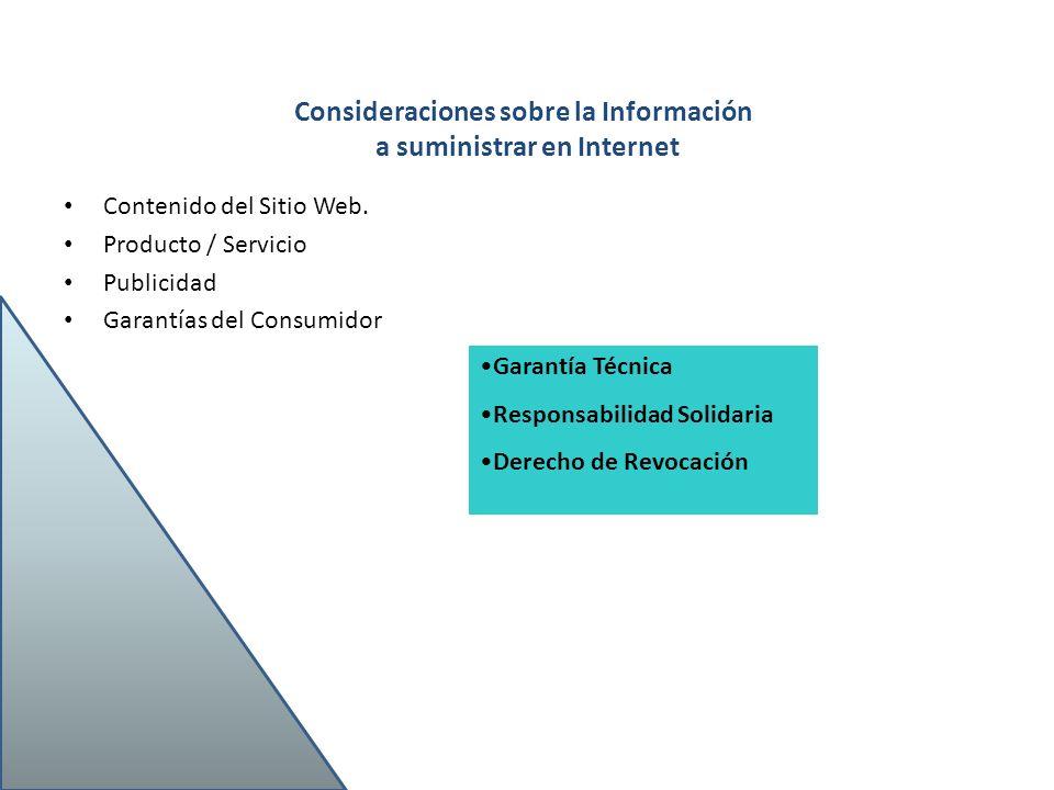 Consideraciones sobre la Información a suministrar en Internet