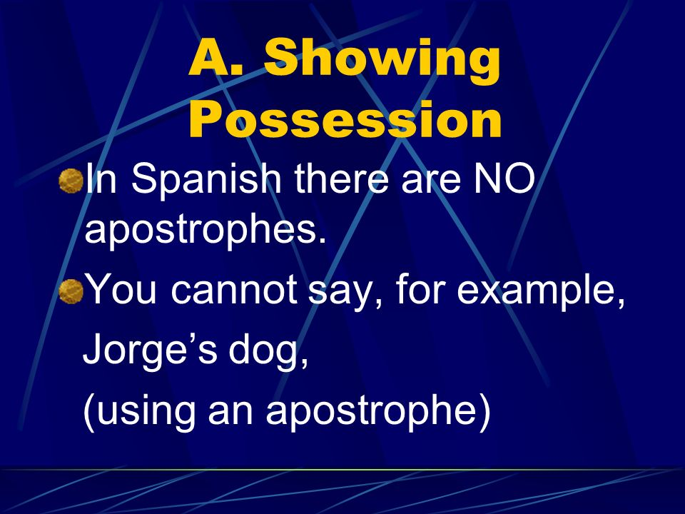 A. Showing Possession In Spanish there are NO apostrophes.