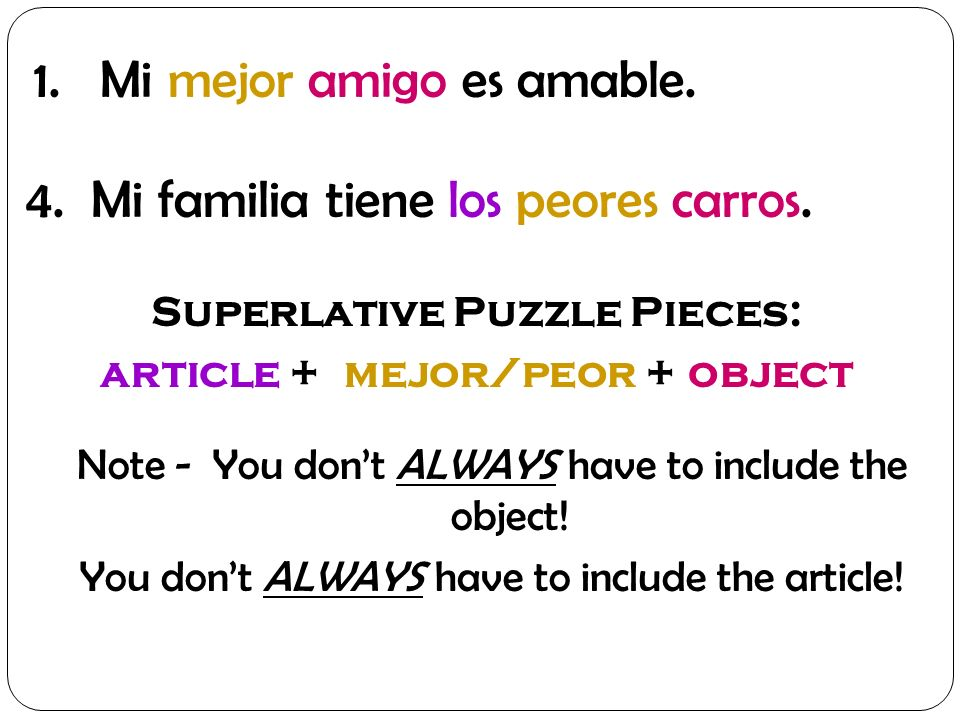 Superlative Puzzle Pieces: article + mejor/peor + object