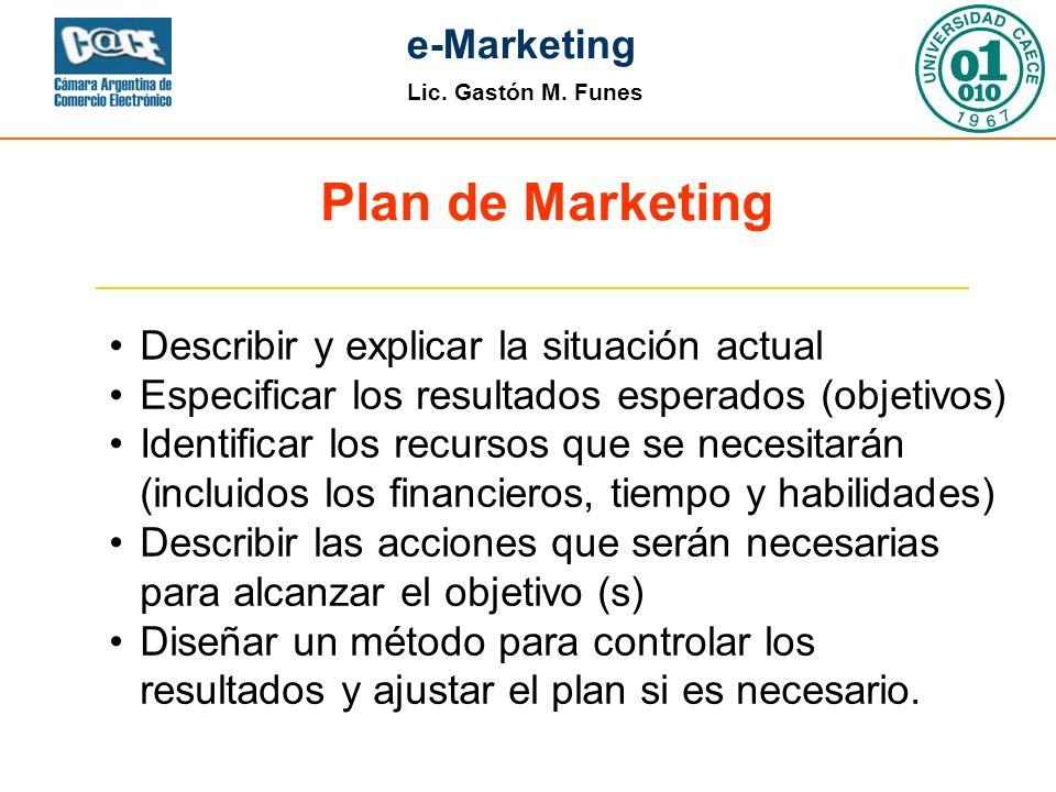 Plan de Marketing Describir y explicar la situación actual