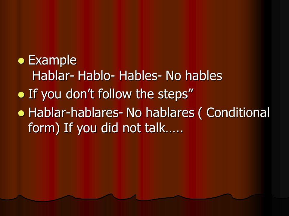 Example Hablar- Hablo- Hables- No hables