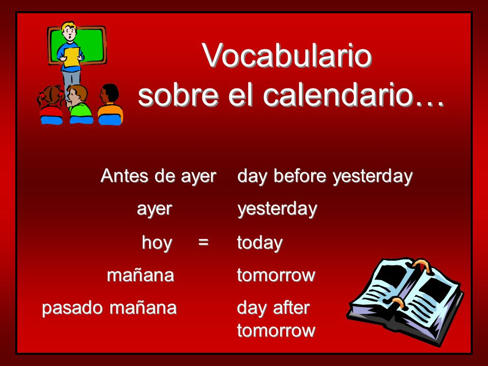 Vocabulario sobre el calendario… Antes de ayer day before yesterday