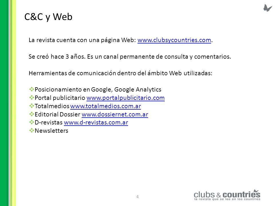 C&C y Web La revista cuenta con una página Web: www.clubsycountries.com. Se creó hace 3 años. Es un canal permanente de consulta y comentarios.