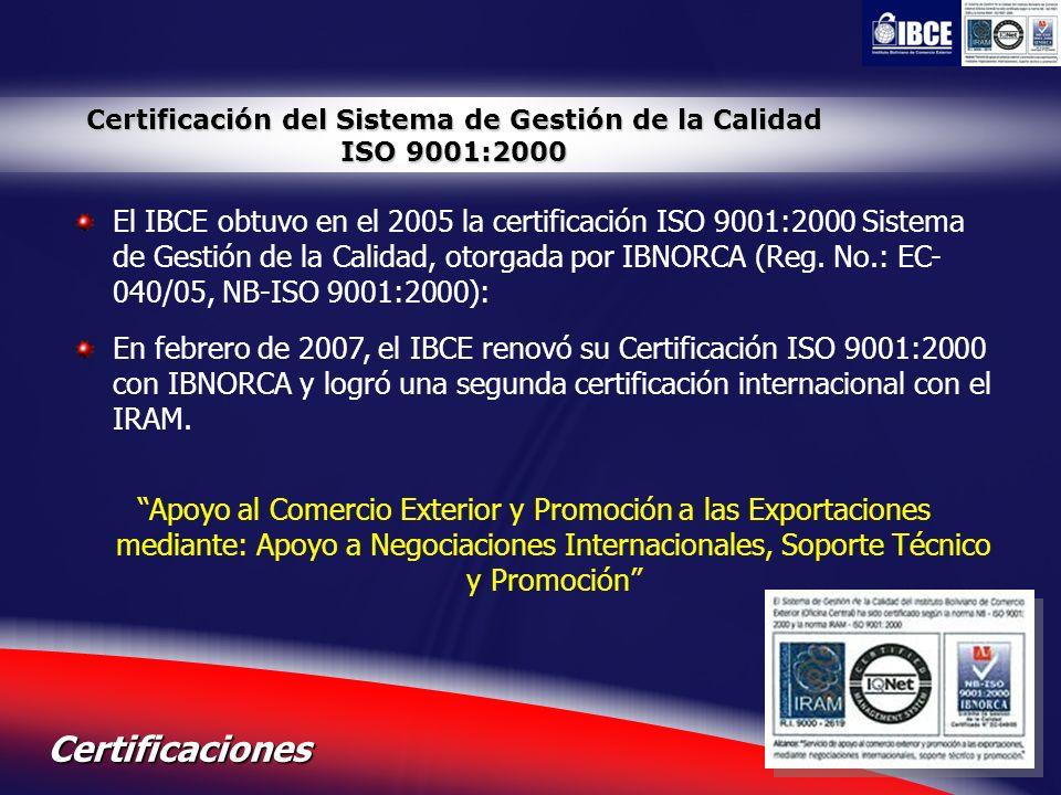 Certificación del Sistema de Gestión de la Calidad ISO 9001:2000