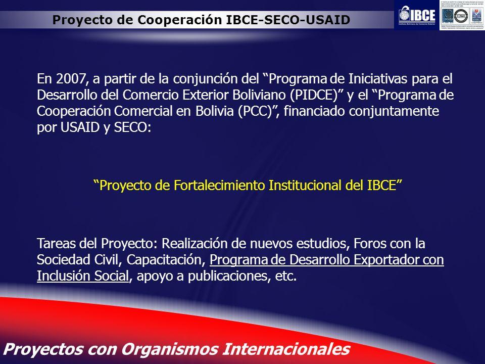 Proyecto de Cooperación IBCE-SECO-USAID
