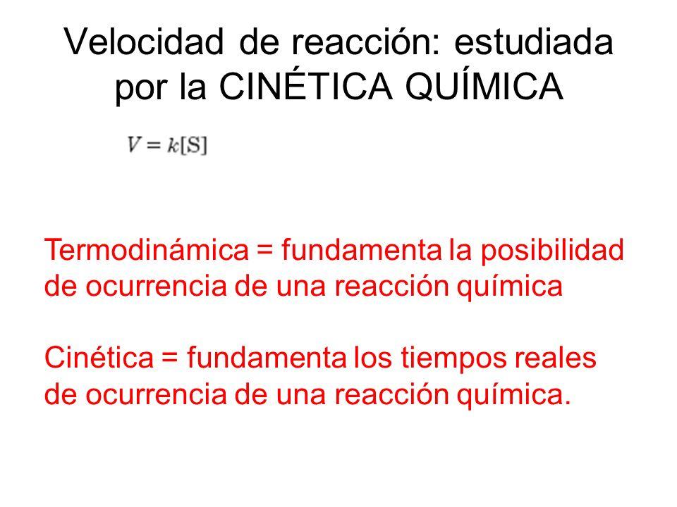 Velocidad de reacción: estudiada por la CINÉTICA QUÍMICA