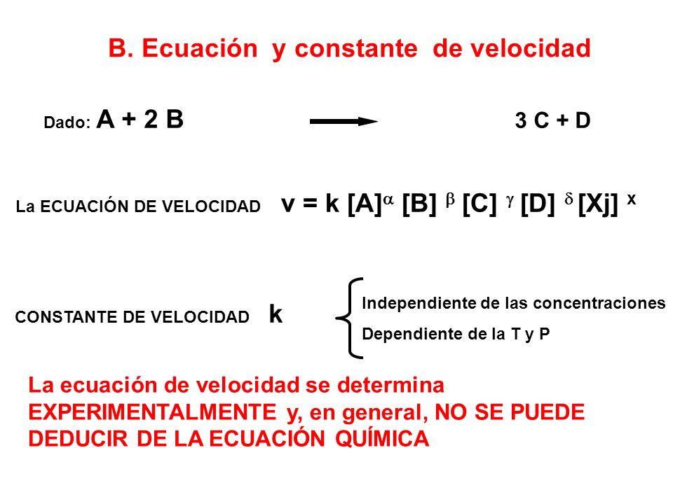B. Ecuación y constante de velocidad