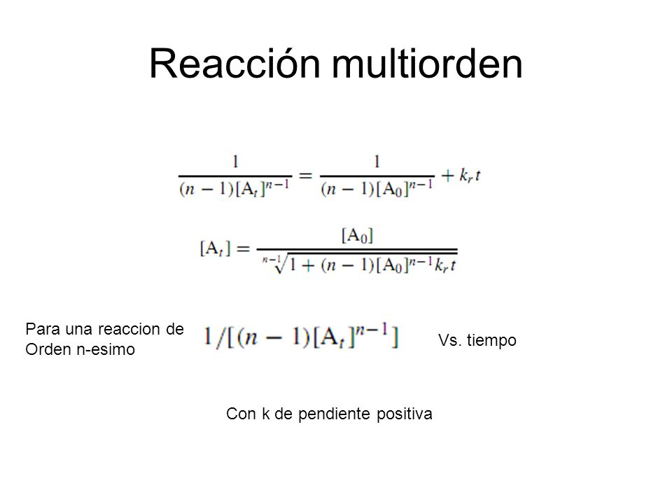 Reacción multiorden Para una reaccion de Orden n-esimo Vs. tiempo