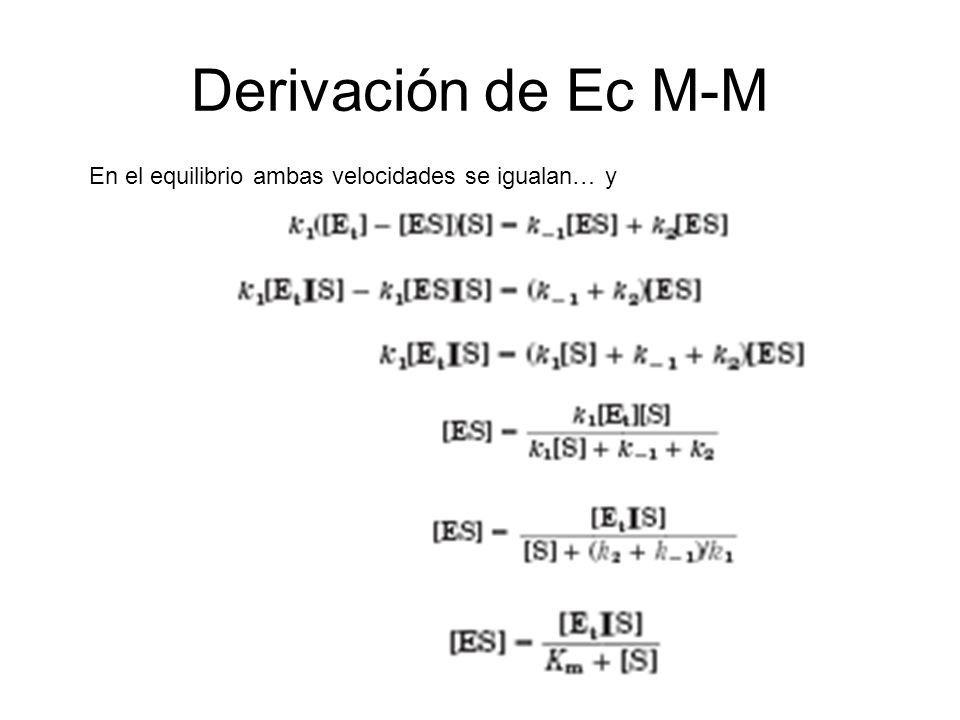 Derivación de Ec M-M En el equilibrio ambas velocidades se igualan… y