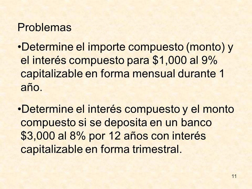 Problemas Determine el importe compuesto (monto) y. el interés compuesto para $1,000 al 9% capitalizable en forma mensual durante 1.