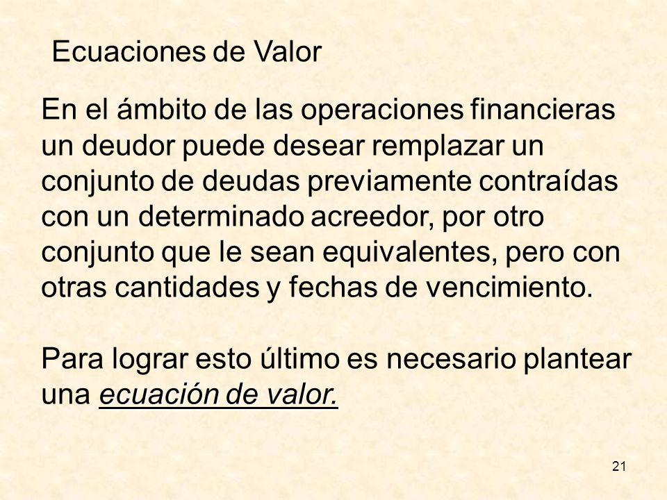Ecuaciones de Valor En el ámbito de las operaciones financieras. un deudor puede desear remplazar un.
