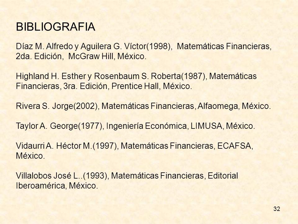 BIBLIOGRAFIA Díaz M. Alfredo y Aguilera G. Víctor(1998), Matemáticas Financieras, 2da. Edición, McGraw Hill, México.