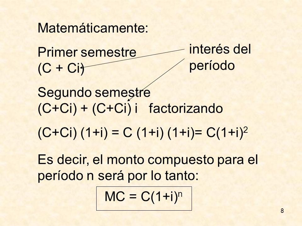 Matemáticamente: Primer semestre. (C + Ci) Segundo semestre. (C+Ci) + (C+Ci) i factorizando. (C+Ci) (1+i) = C (1+i) (1+i)= C(1+i)2.