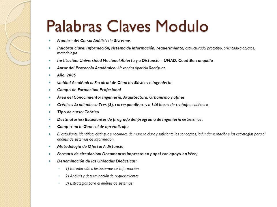 Palabras Claves Modulo