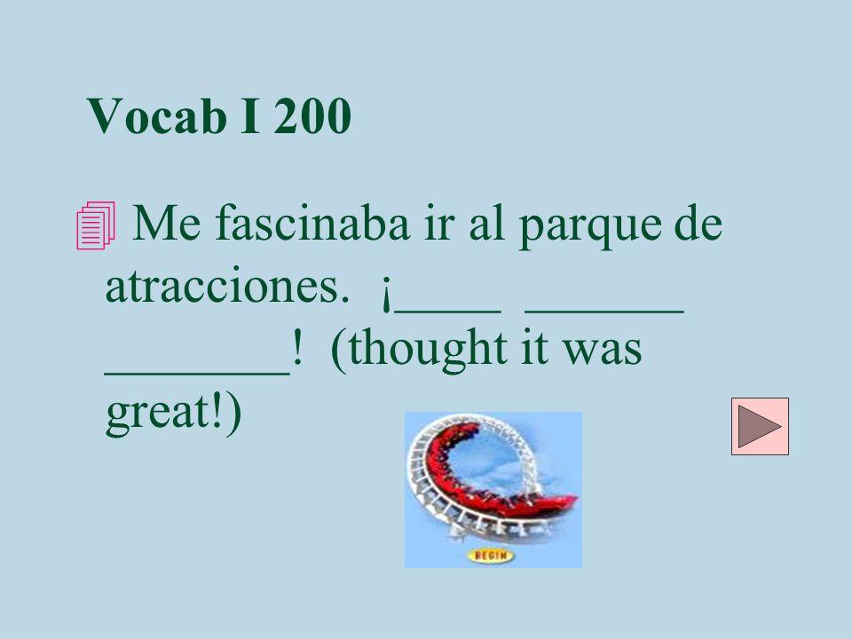 Vocab I 200 Me fascinaba ir al parque de atracciones.