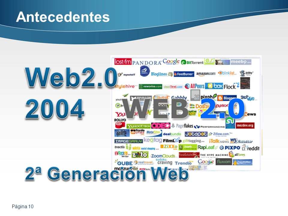 Antecedentes Web2.0 2004 2ª Generación Web Página 10