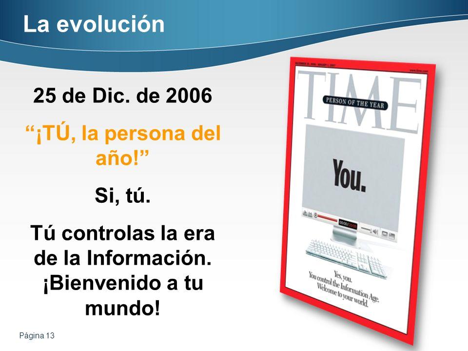 La evolución 25 de Dic. de 2006 ¡TÚ, la persona del año! Si, tú.