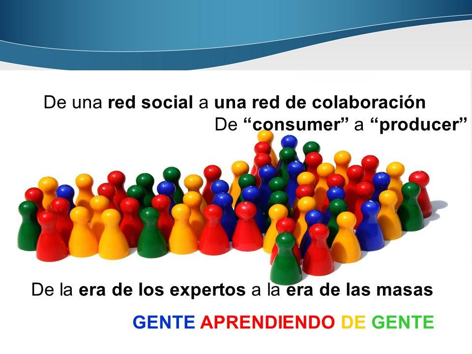 De una red social a una red de colaboración De consumer a producer