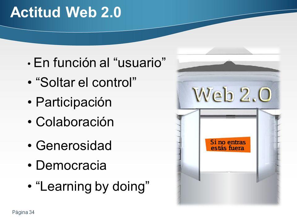 Actitud Web 2.0 Soltar el control Participación Colaboración
