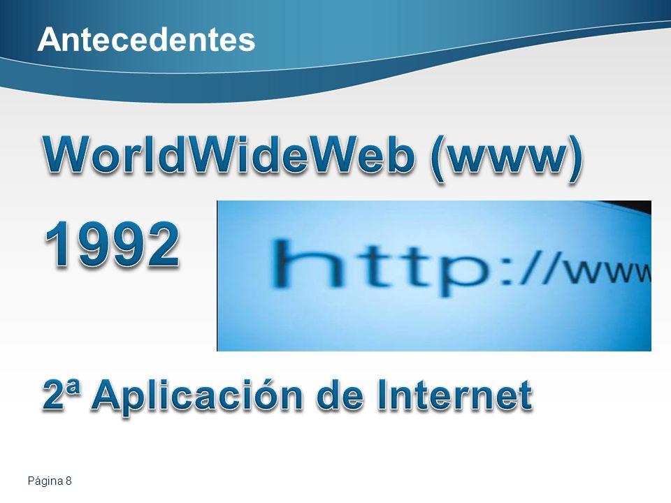 1992 WorldWideWeb (www) 2ª Aplicación de Internet Antecedentes
