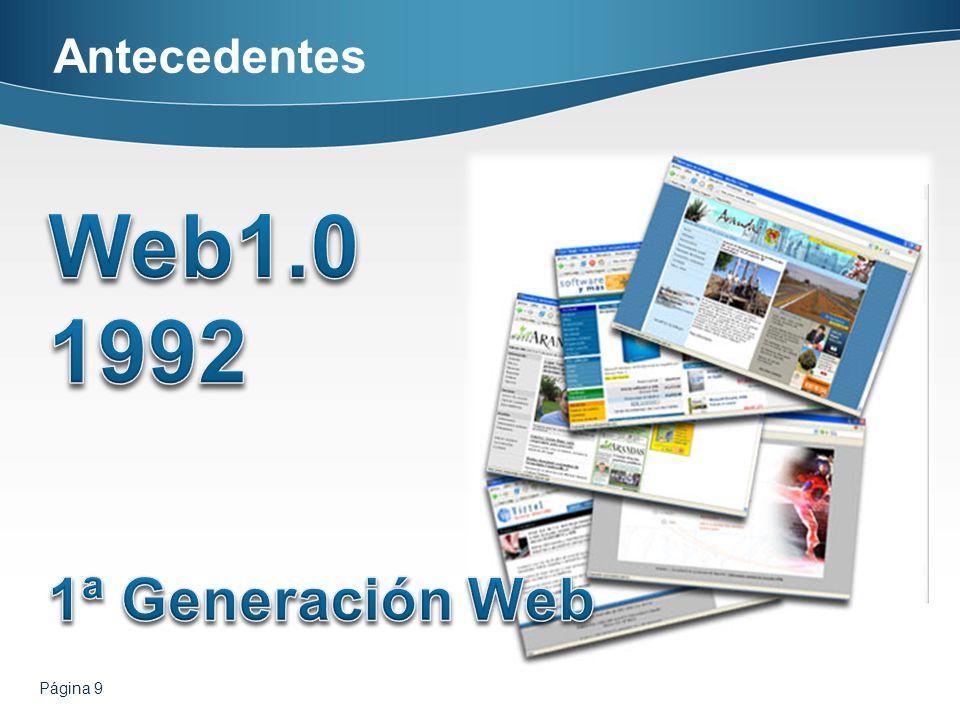 Antecedentes Web1.0 1992 1ª Generación Web Página 9