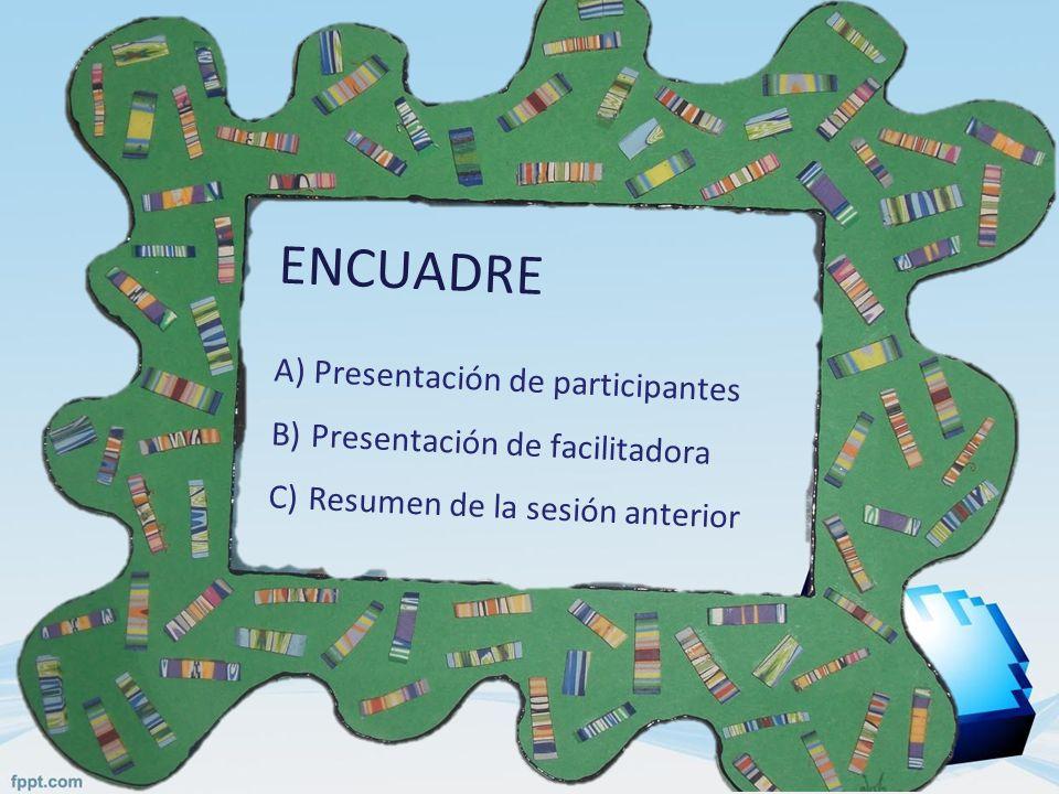 ENCUADRE Presentación de participantes Presentación de facilitadora