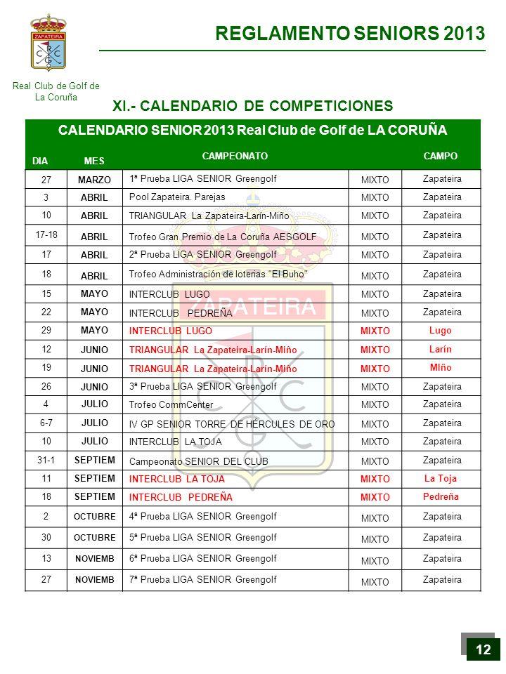 XI.- CALENDARIO DE COMPETICIONES
