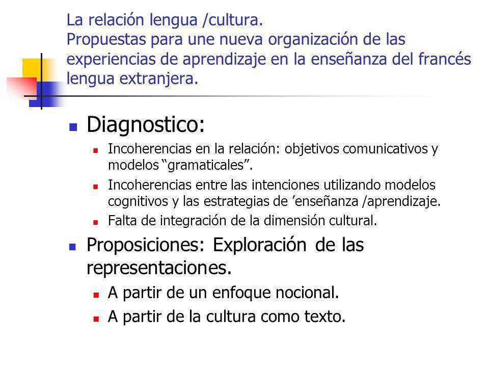 Diagnostico: Proposiciones: Exploración de las representaciones.