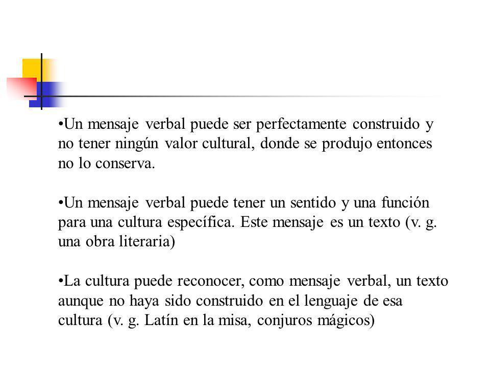 Un mensaje verbal puede ser perfectamente construido y no tener ningún valor cultural, donde se produjo entonces no lo conserva.
